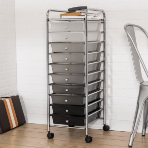Honey Can Do Rolling Storage Cart with 10 Shaded Drawers