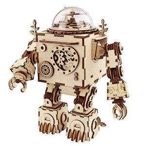 ROBOTIME 3D Puzzle Music Box Wooden Craft Kit Robot Machinarium Toy with Light