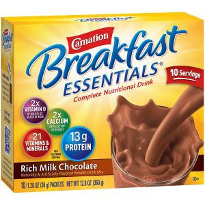 白菜价$18.74 一包只需$0.31Carnation 早餐牛奶巧克力粉 1.26 Oz. 60包