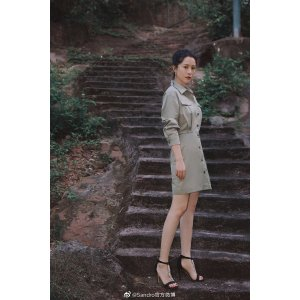 Sandro海清同款工装连衣裙