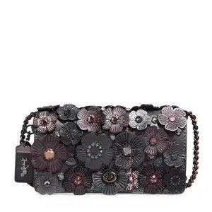 CoachDinky Metallic Crystal Tea Rose Shoulder Bag