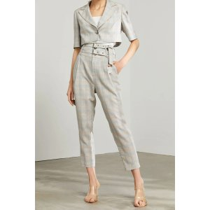 J.INGGertrude Plaid Double Belted Trousers
