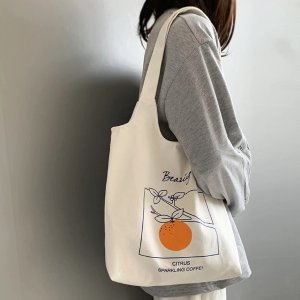37 x 36 cm白色橙子帆布袋