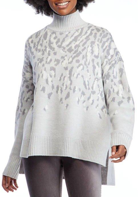 女士宽松豹纹印花高领毛衣