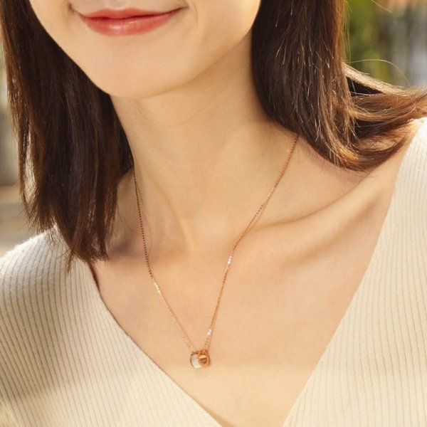 18k红金珍珠母项链