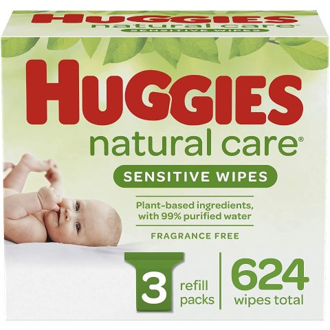 $13.28(Was $15.99)Huggies Natural Care Sensitive Baby Wipes, Unscented, 3 Refill Packs (624 Wipes Total)