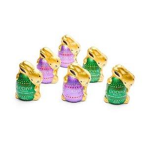 GodivaBOGO 50% offAssorted Chocolate Bunnies, Foil Wrapped, Set of 6 | GODIVA