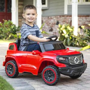 $90+包邮 黑粉蓝红白多色选儿童电动车,家长可遥控,3档速可选,车灯、喇叭一应俱全