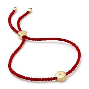 Monica Vinader金色钻扣小红绳