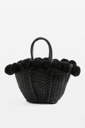 Topshop Sia Pom Pom Straw Shopper Bag