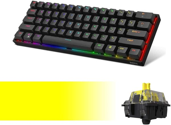 DK61E 60% Mechanical Gaming Keyboard, RGB Backlit Wired PBT Keycap Waterproof Type-C Mini Compact 61 Keys Computer Keyboard with Full Keys Programmable (Gateron Optical Yellow Switch)