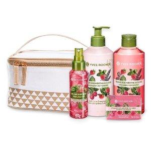 Yves Rocher沐浴露+身体乳+皂+头发喷雾树莓洗护套装