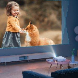 $77.99包邮(原价$129.99)Megacro 家庭影院投影仪 送100英寸投影幕布 支持多种输入