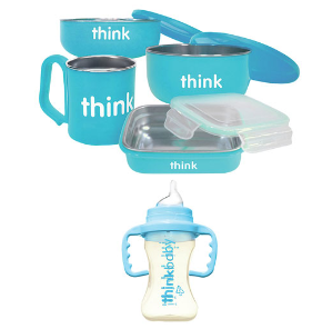 $39.99(原价$59.99)Thinkbaby 双层不锈钢儿童餐具5件套(3色可选)