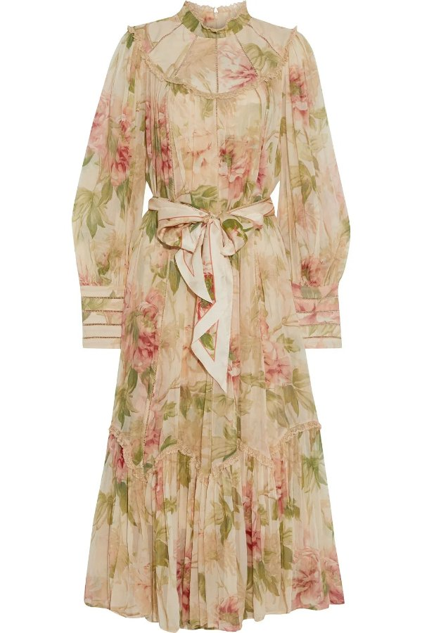 Espionage Swing lace-trimmed floral-print silk-georgette midi dress