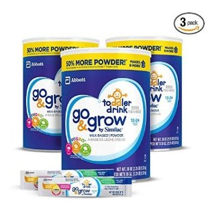 35% off + extra 5% offAmazon Go & Grow by Similac Milk Based Toddler Drink, (Pack Of 3) 36oz cans + 2 On-The-Go Stickpacks