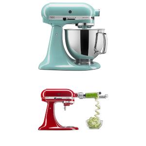 $249.99 三色可选 马卡龙色颜值超高!限今天:KitchenAid Artisan系列5夸脱厨房料理机+削皮切片工具 3色可选
