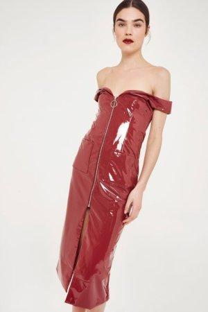 Style Mafia Off-The-Shoulder Vinyl Midi Dress