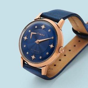 低至5折+额外8折+包邮Timex 时装腕表特卖,好价收封面水晶星机械款