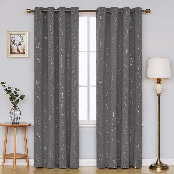 52 x 84 Inch 灰色遮光窗帘 2片