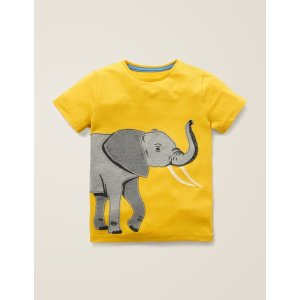 BodenBig Animal Applique T-Shirt - Mustard Yellow Elephant | Boden US