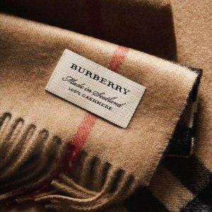 7折起+额外8.5折+免邮Burberry $658(官网定价$930)收格纹斜挎包 $369收经典纹羊绒围巾