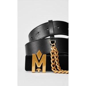 Mackageleather belt with signature buckle