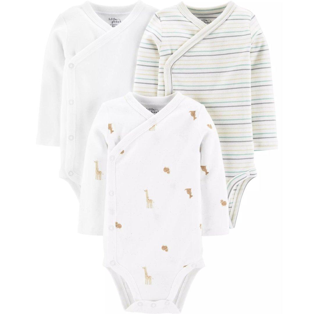 婴儿有机棉侧开包臀衫3件套