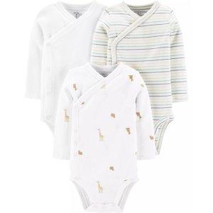 Carter's婴儿有机棉侧开包臀衫3件套