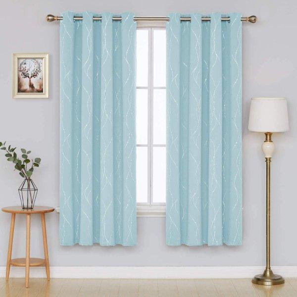 52 x 84 Inch 天空蓝色遮光窗帘 2片