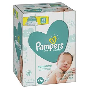 PampersSensitive Water-Based Baby Diaper Wipes, 9 Refill Packs for Dispenser Tub - Hypoallergenic and Unscented - 576 Count