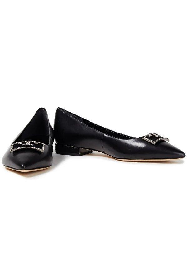 Suede-trimmed平底鞋