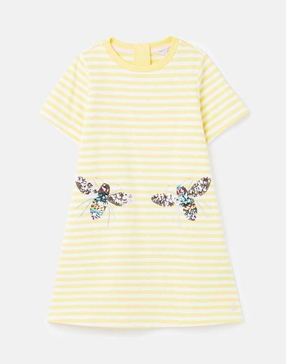 儿童小蜜蜂彩色闪片条纹连衣裙