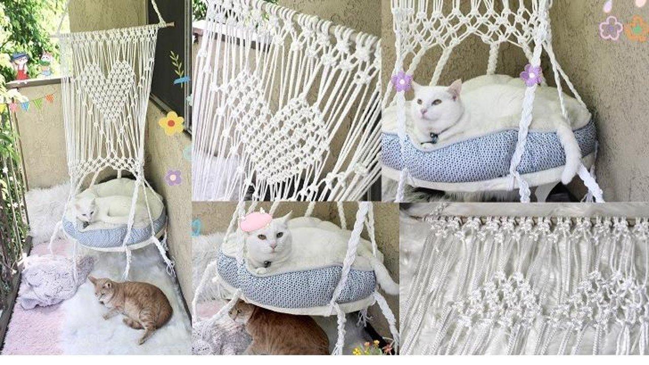 手工DIY编织千秋挂毯猫吊窝