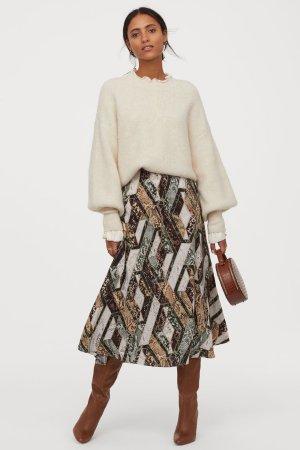 Circle Skirt - Green/snakeskin-patterned - Ladies | H&M US
