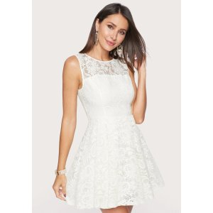 BebeEmbroidered Fit And Flare Dress