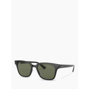 页面显示为折后价Ray-Ban RB4323 Unisex Polarised Wayfarer Sunglasses, Black/Green