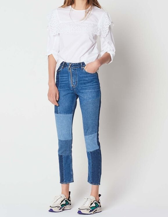拼接牛仔裤