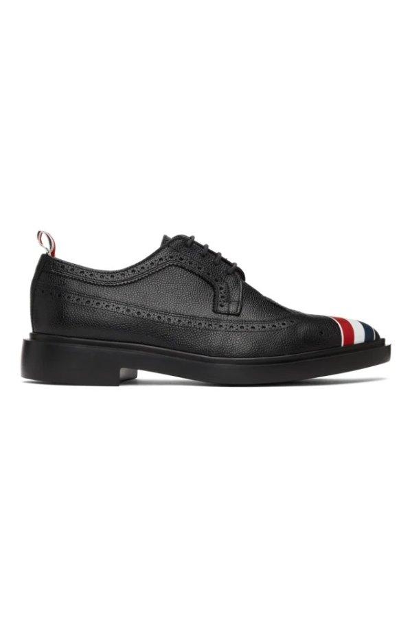 斜条纹布洛克皮鞋