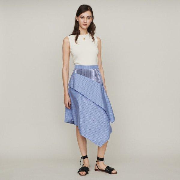 不规则条纹半裙