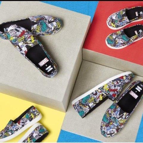€34起收蜘蛛侠萌娃帆布鞋漫威 x Toms 合作款新作来袭 收经典场景印花平底鞋