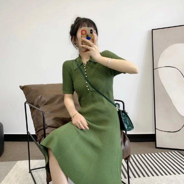 牛油果针织裙
