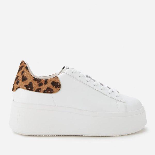 豹纹尾厚底小白鞋