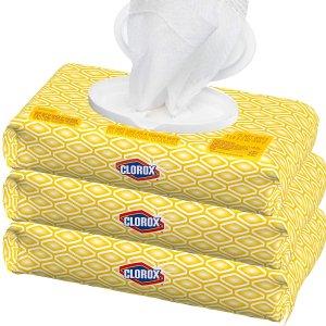 $11.97 补货速入补货:Clorox 抽取式便携消毒湿巾超值3包装 共225片