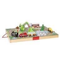 Melissa & Doug 可折叠木质火车+轨道玩具套装