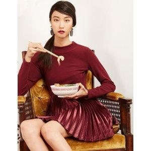 Pixie MarketBurgundy Pleated连衣裙