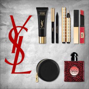 6.1折+送金箔妆前套装YSL 美妆礼盒上市 4件正装+眼线+彩妆包!含黑鸦片、小金条