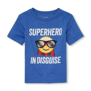 The Children's PlaceBaby And Toddler Boys Short Sleeve 'Superhero In Disguise' Emoji Graphic Tee