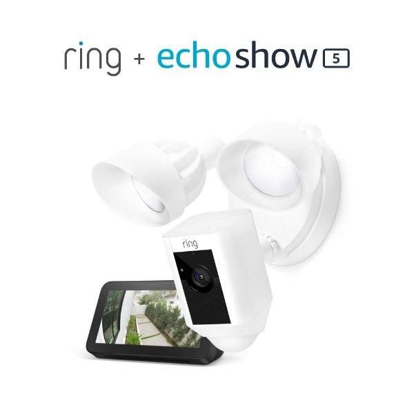 RIng Floodlight 智能摄像头 带照明灯 + Echo Show 5