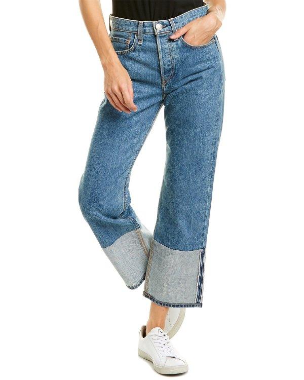 高腰宽腿直筒牛仔裤
